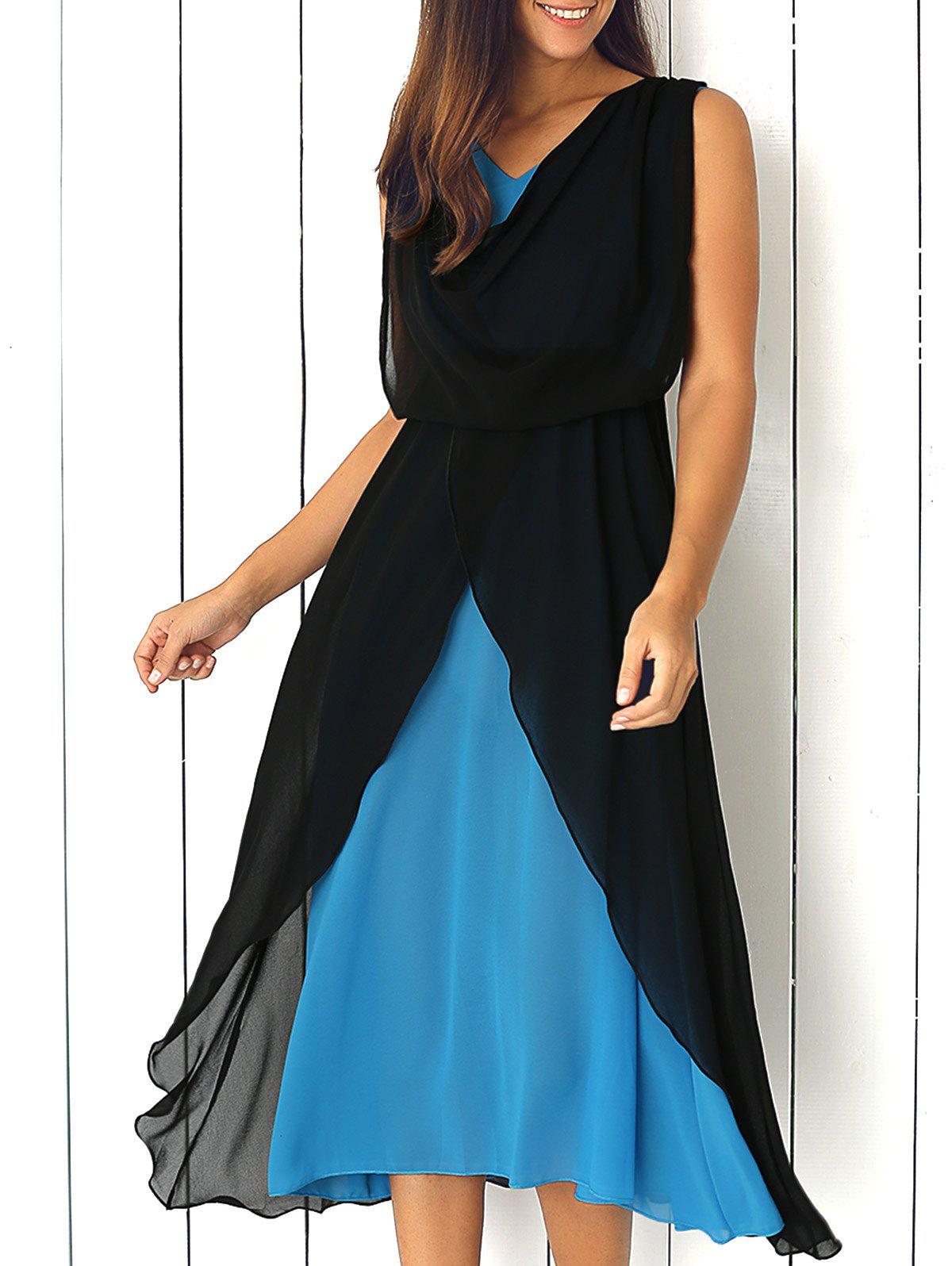 Sleeveless Layered Chiffon Dress - BLACK XL
