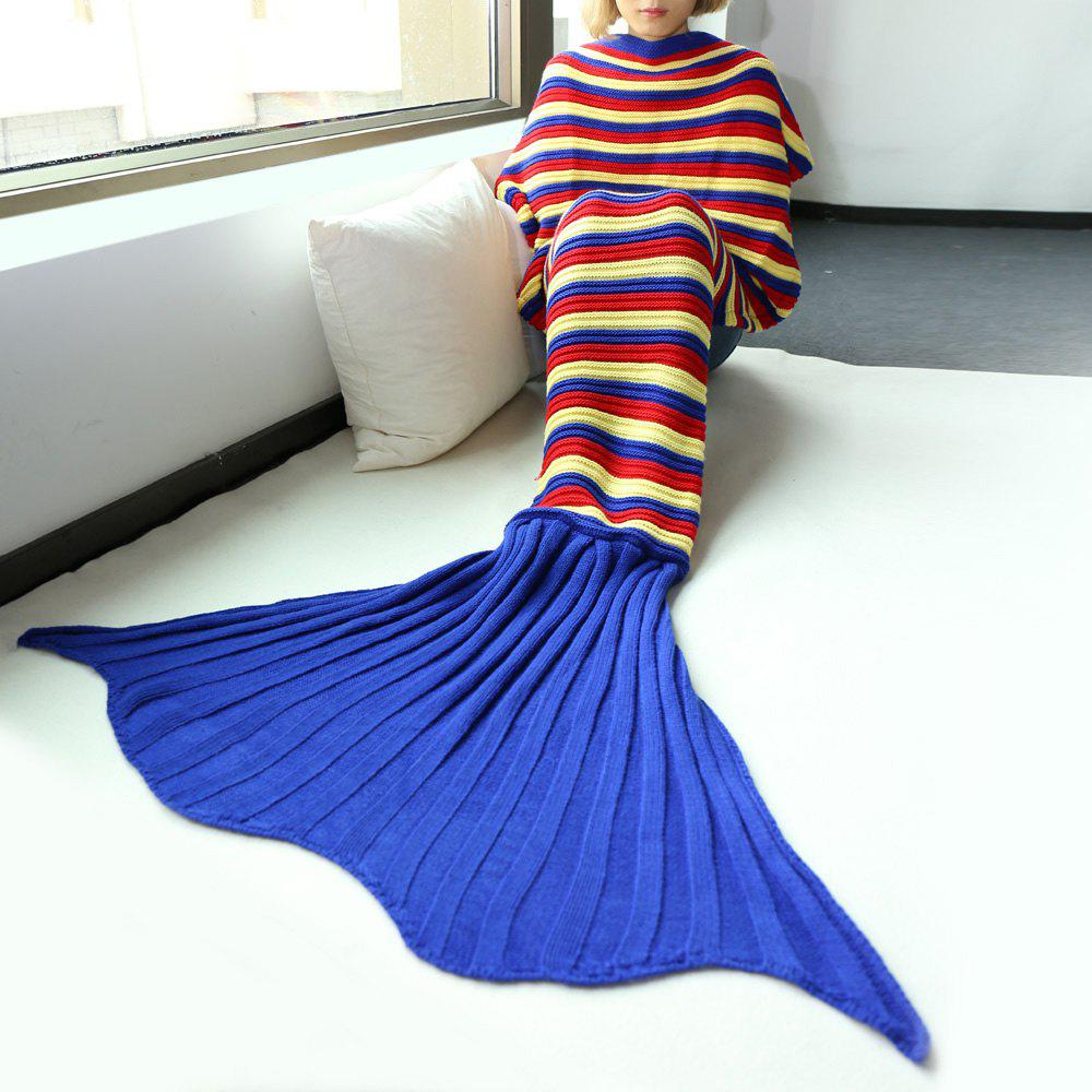 Comfortable High Quality Stripe Knitted Sofa Mermaid Blanket - COLORMIX