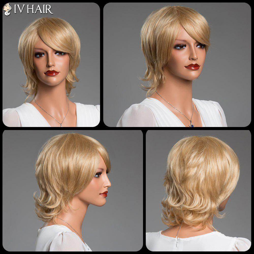 Side Bang Short Tilt Straight Real Natural Hair Siv Wig - GOLDEN BLONDE