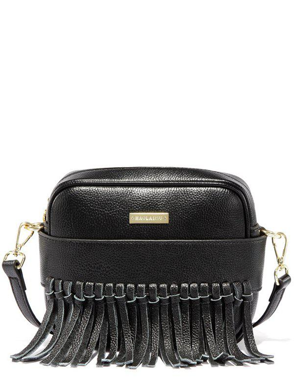 Textured PU Fringe Crossbody Bag - BLACK