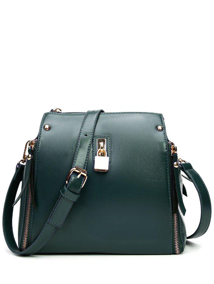 Zipper Chains Lock Crossbody BagBags<br><br><br>Color: BLACKISH GREEN