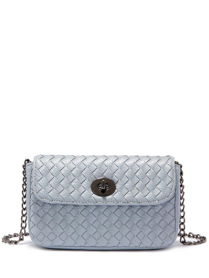 Chains Woven PU Leather Crossbody Bag - BLUE GRAY