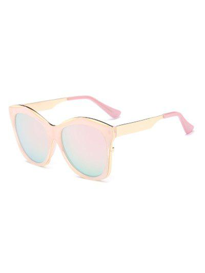 Double Frames Mirrored Irregular Sunglasses - PINK
