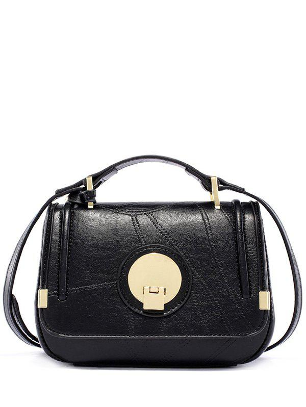 Stitching Metal PU Leather Crossbody Bag - BLACK