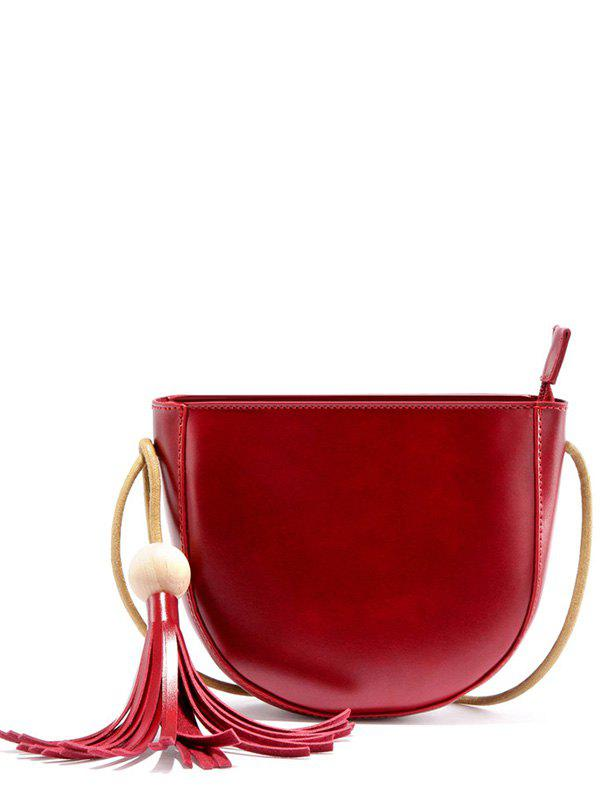 Tassel Wooden Ball Crossbody Bag - WINE RED