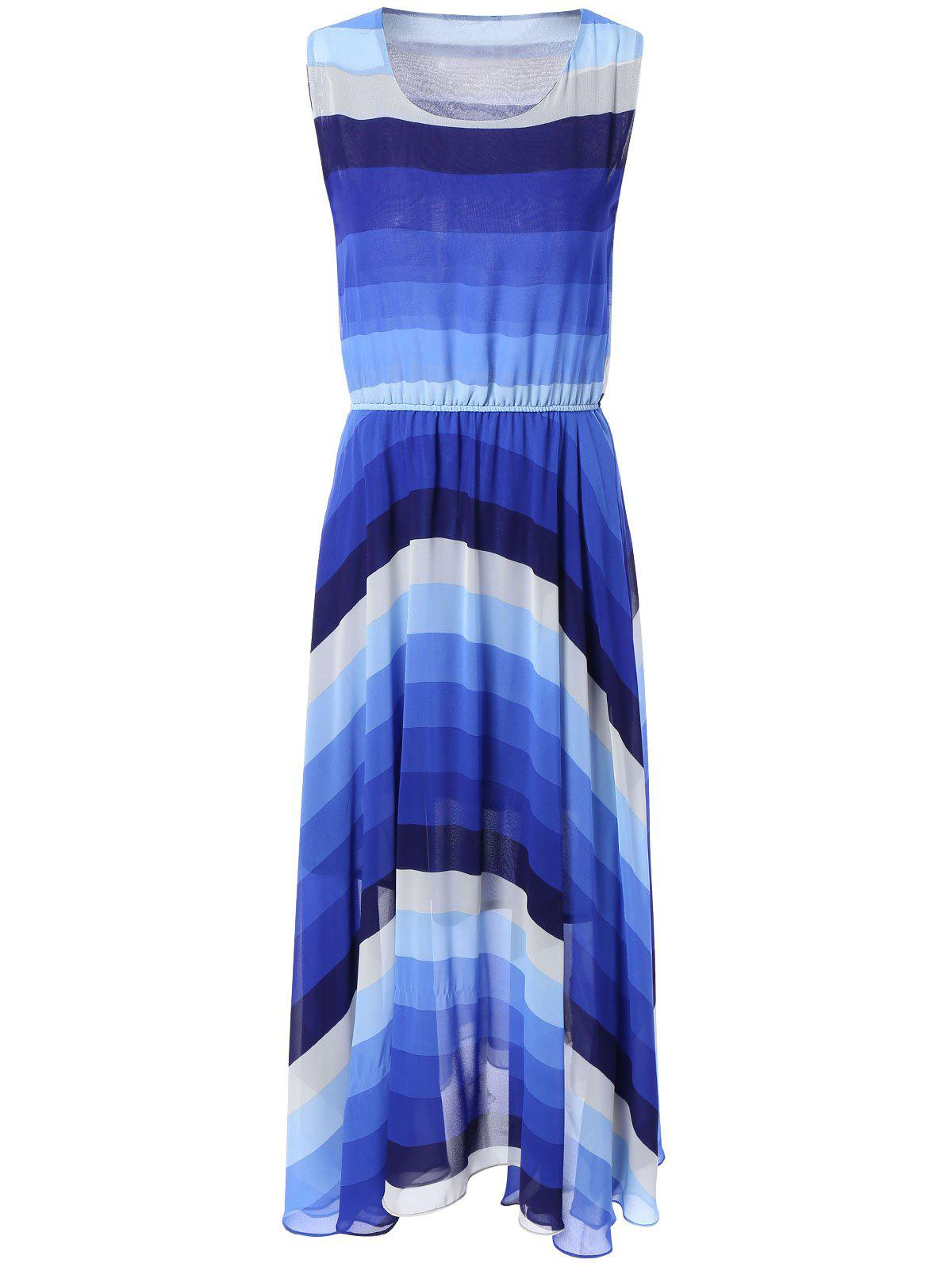 Bohemian Ombre Color Chiffon Maxi Dress - BLUE 2XL
