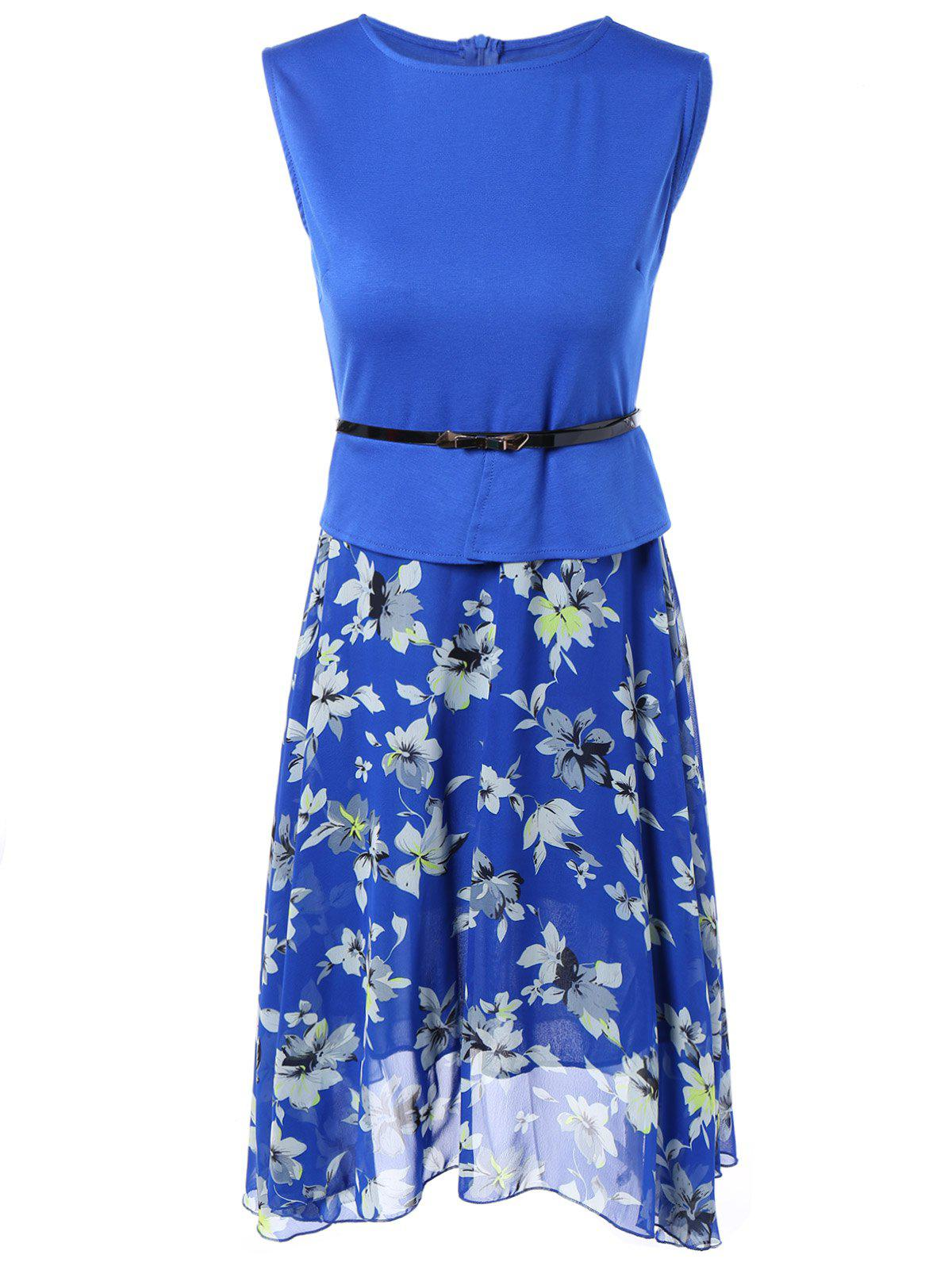 Sleeveless Spliced Floral Print Chiffon Dress - BLUE 2XL