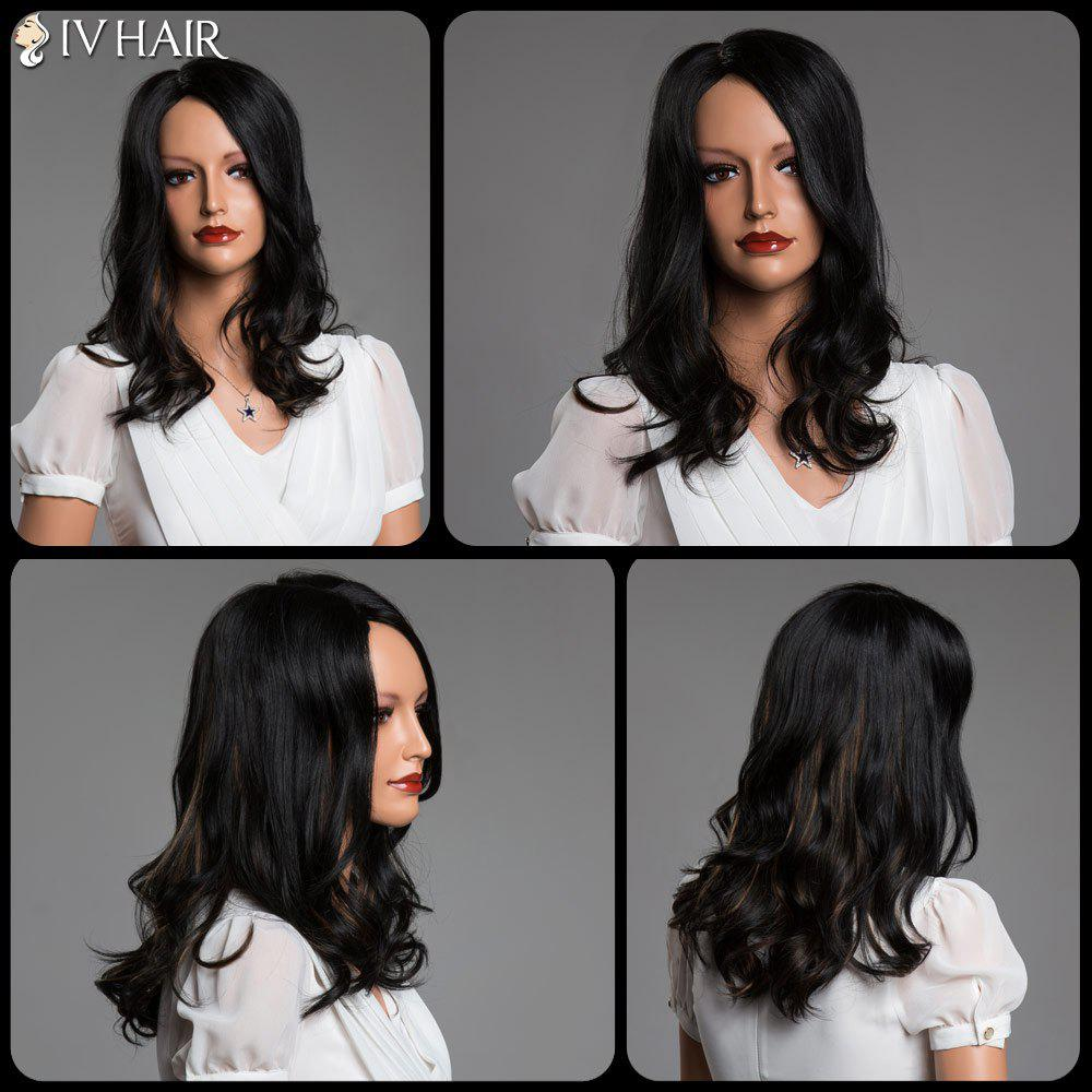 Side Parting Double Color Long Curly Real Natural Hair Siv Wig - COLORMIX