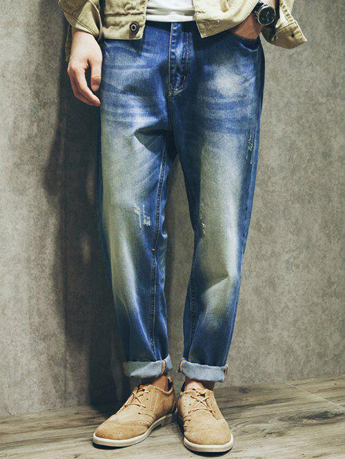 Five-Pocket Scratched Zipper Fly Loose-Fitting Jeans rivet embellished scratched zipper fly jeans