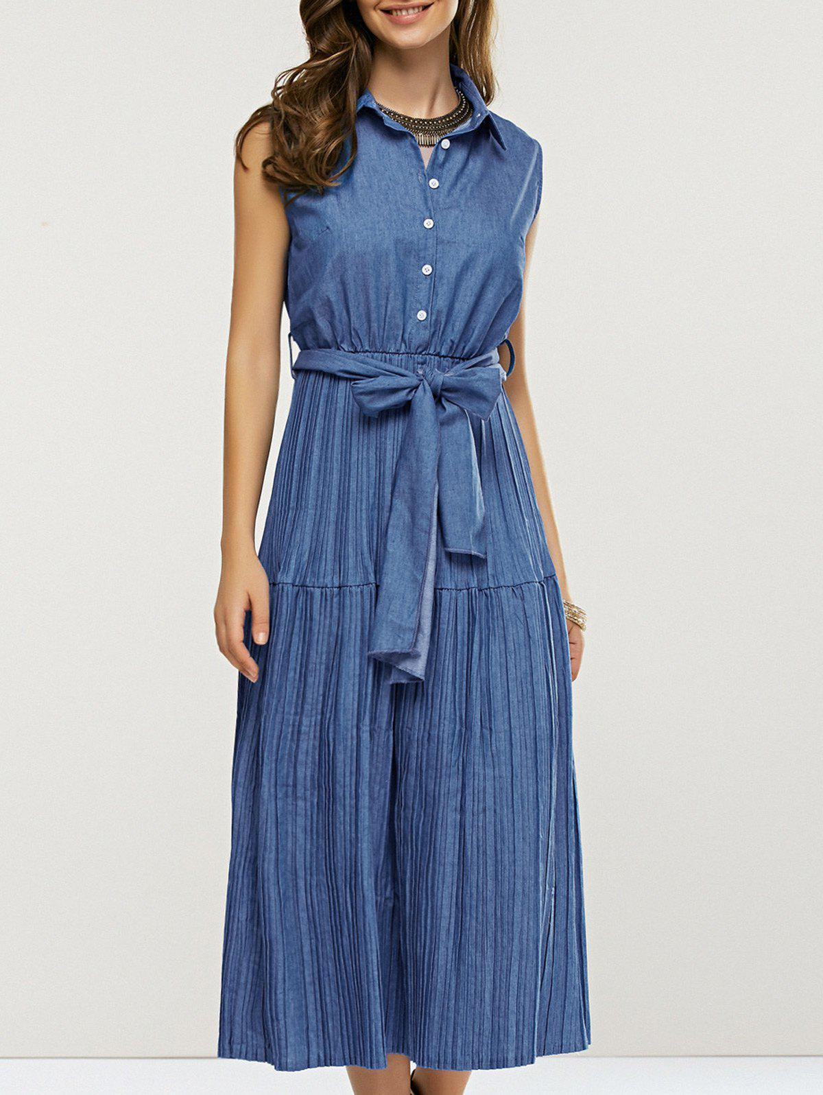 Pleated High Waist Sleeveless Midi Dress - DENIM BLUE L