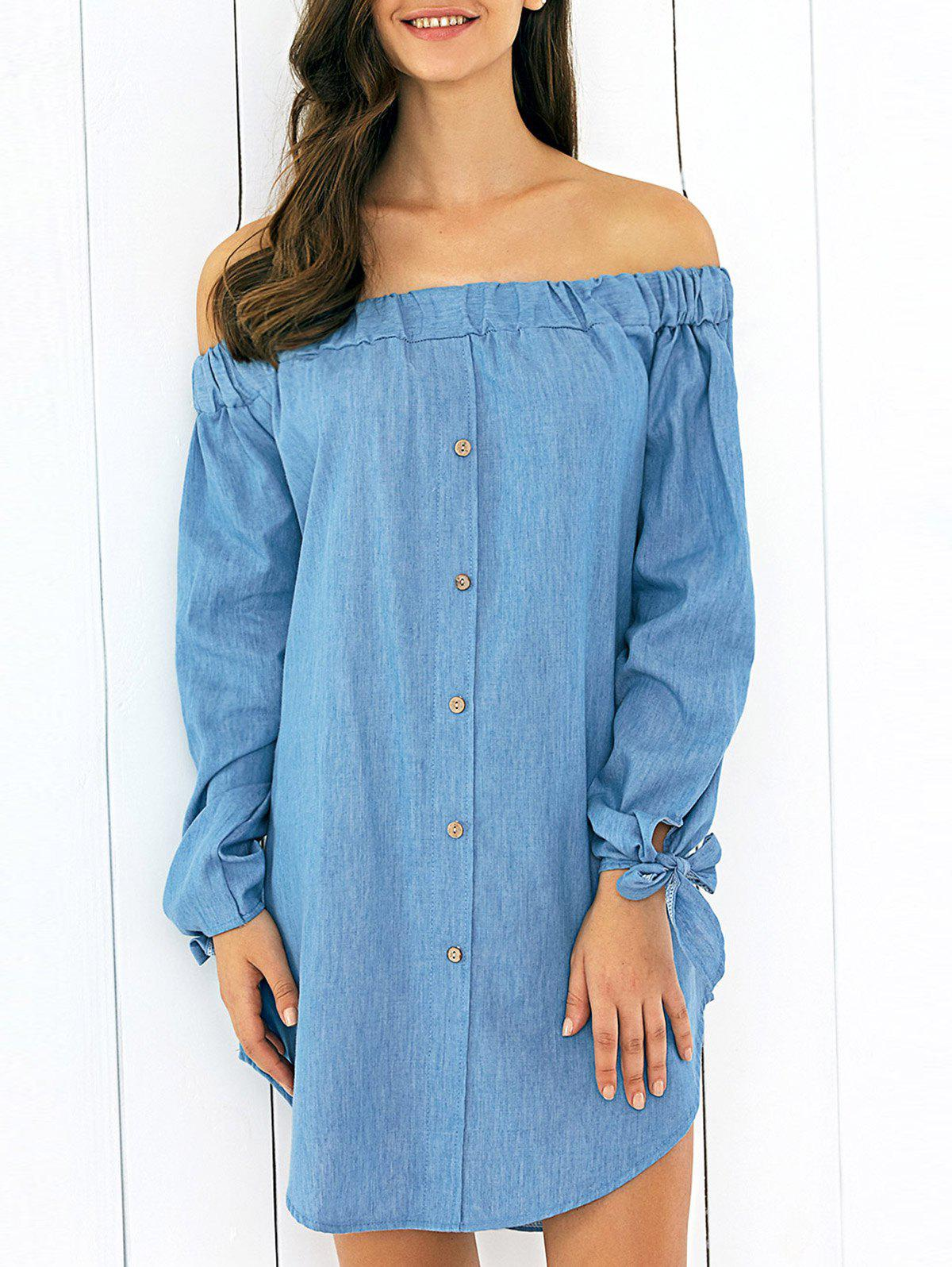 Off-The-Shoulder Tie Sleeve Dress - LIGHT BLUE XL
