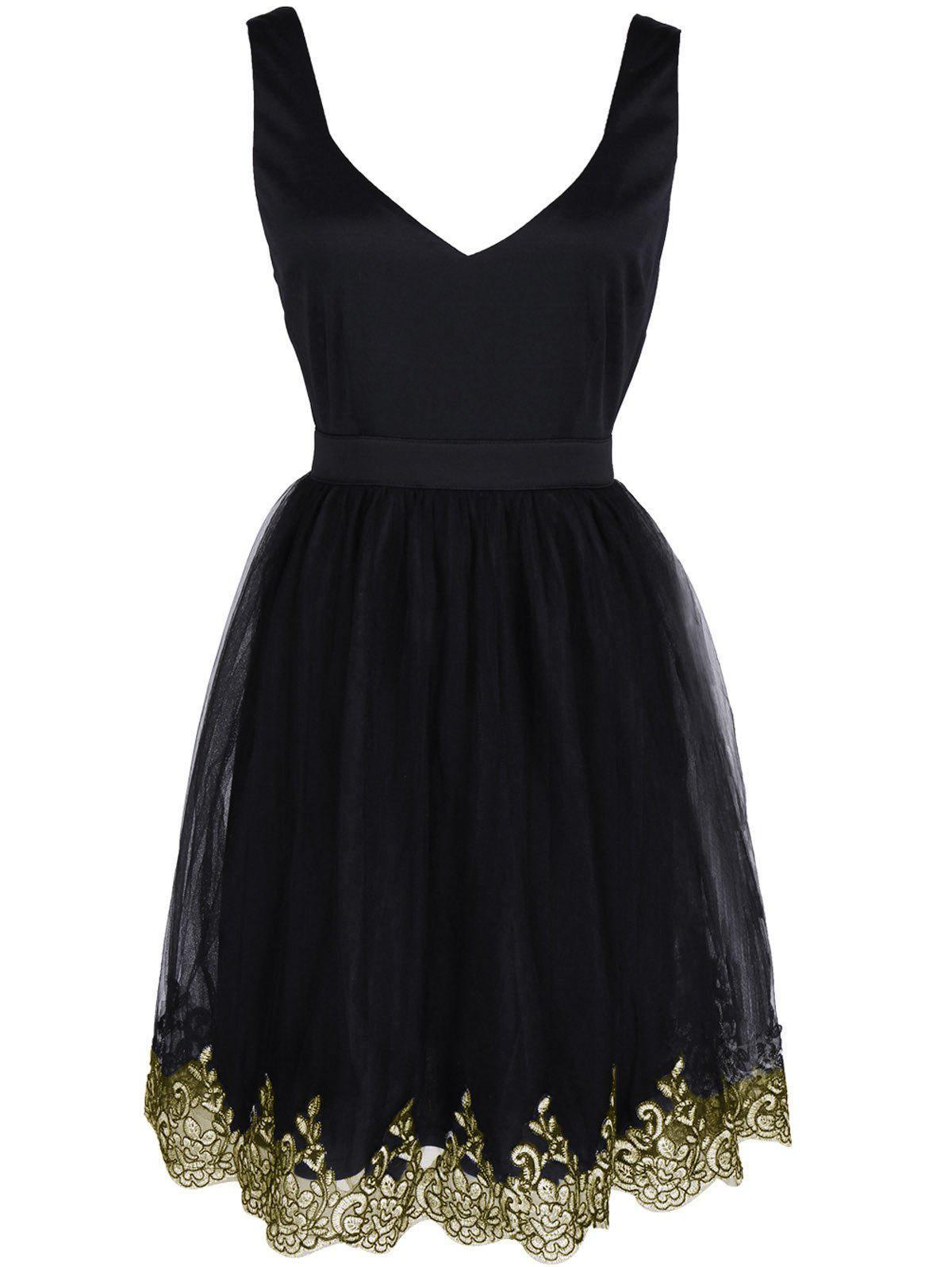 Alluring Women's Floral Embroidered Lace Spliced Dress - BLACK XL