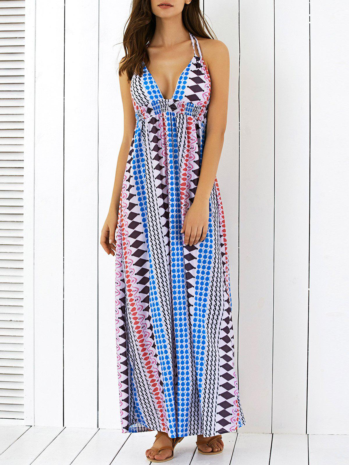 Geometric Print High Waist Halter Maxi Dress - COLORMIX XL