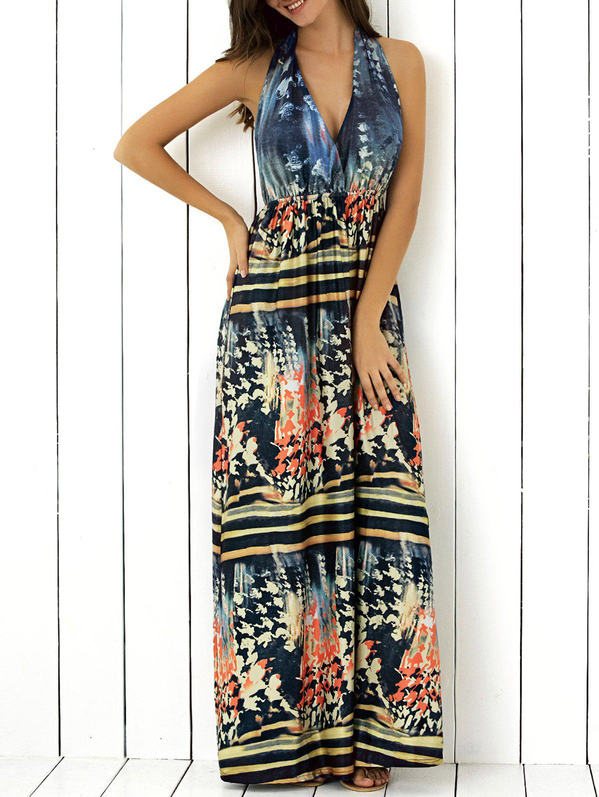 Halter Backless Abstract Print Maxi Dress
