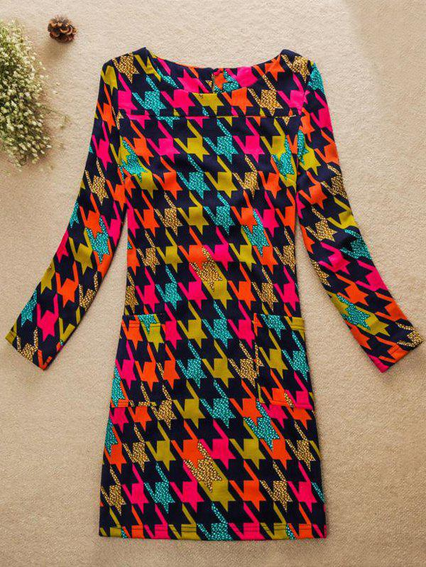 Colorful Houndstooth Jewel Neck Dress - multicolorcolore M