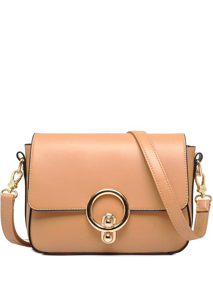Stitching Metal Ring PU Leather Crossbody Bag - APRICOT