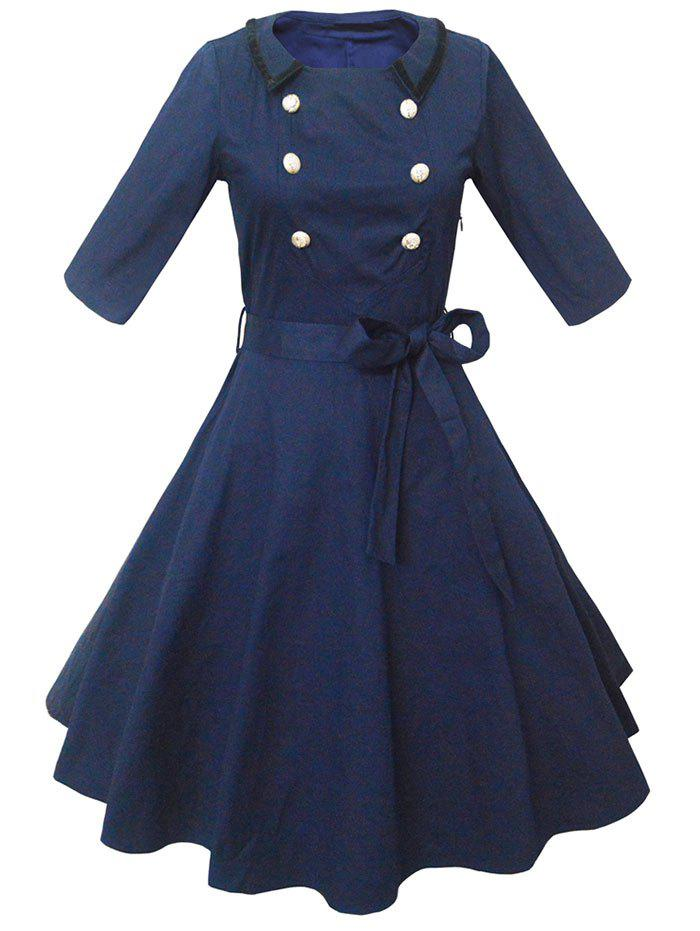 Retro Buttoned High-Waisted Belted Flare Dress