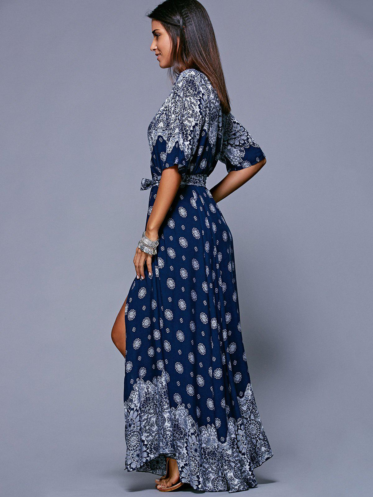 Slit Print Long Flowing Wrap Plunge Dress - PURPLISH BLUE ONE SIZE(FIT SIZE XS TO M)