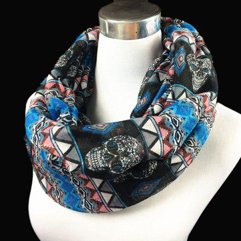 Bohemia Ethnic Skull and Geometry Pattern Voile Neck Scarf - BLUE