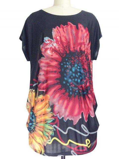 Sunflower Print Loose-Fitting T-Shirt - BLACK ONE SIZE