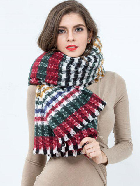 Colorful Plaid Pattern Fringed Wrap Scarf - RED