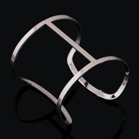 Cut Out Curved Rectangle Cage Cuff Bracelet - SILVER WHITE
