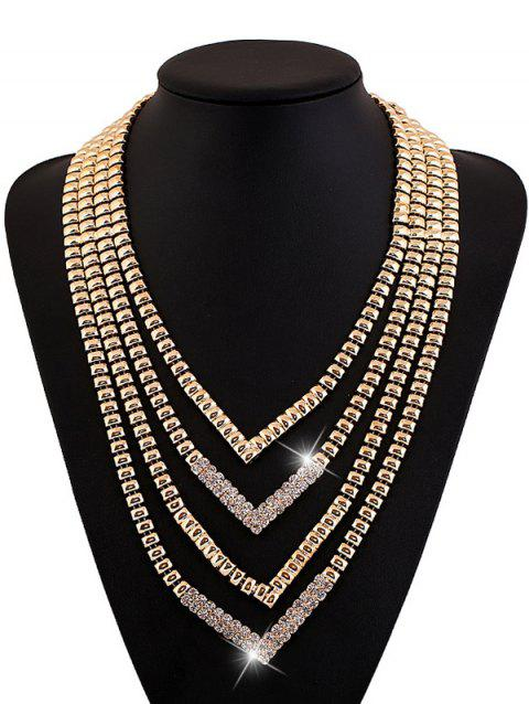 Alliage strass Layered V-forme de collier - d/ 39;or