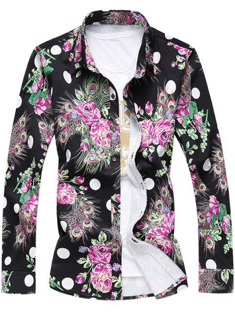 Turn-Down Collar Long Sleeve Plus Size 3D Roses and Peacock Feathers Print Shirt - BLACK L
