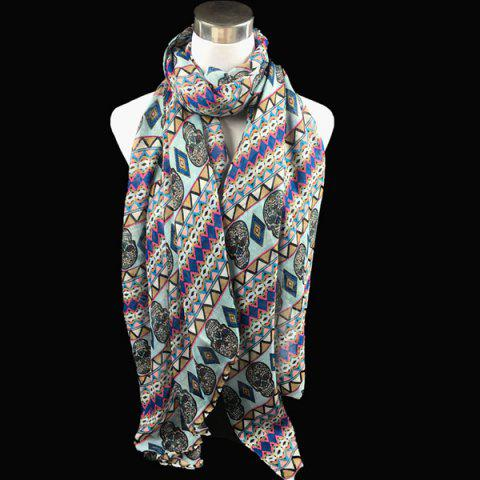Bohemia Ethnic Skull and Geometry Pattern Voile Scarf - LIGHT BLUE