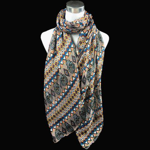 Bohemia Ethnic Skull and Geometry Pattern Voile Scarf - KHAKI