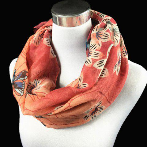 Art Handpainted Butterfly Flower Pattern Voile Neck Scarf - RED