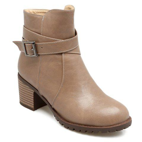 Cross Strap Ankle Boots - CAMEL 39