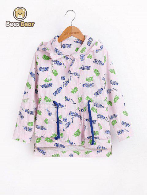 Drawstring Haute Feuille Low Print Hooded Jacket - Rose CHILD-12