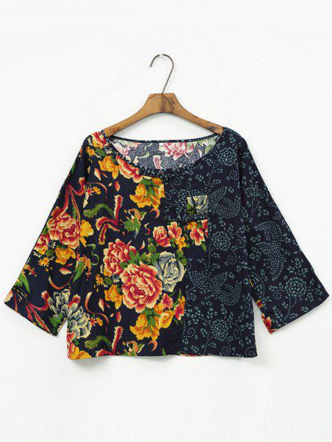 Color Block Floral Patchwork Blouse - BLACK L