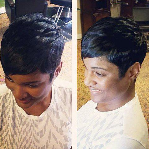 Oblique Bang Straight Short Pixie Cut Real Natural Hair Wig - JET BLACK
