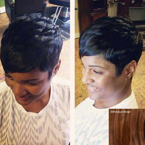 Oblique Bang Straight Short Pixie Cut Real Natural Hair Wig - AUBURN BROWN