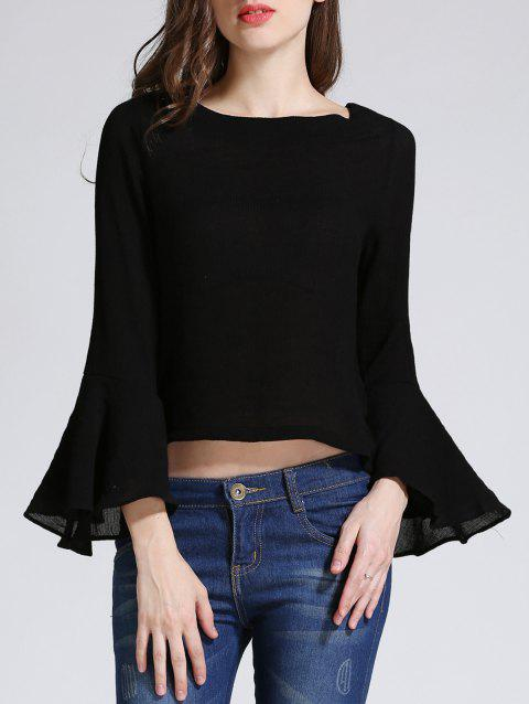 Bell Sleeve Backless Lace-Up Blouse - BLACK S