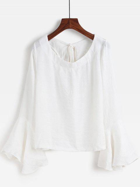 Bell Sleeve Backless Lace-Up Blouse - WHITE S