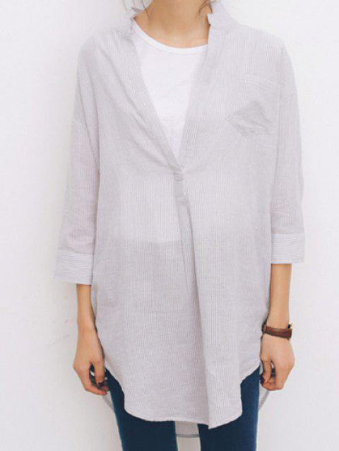 3/4 Sleeves Striped Loose-Fitting Irregular Blouse - WHITE ONE SIZE