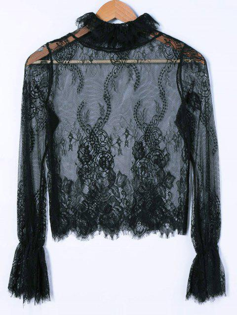 Lace See-Through Blouse - BLACK ONE SIZE