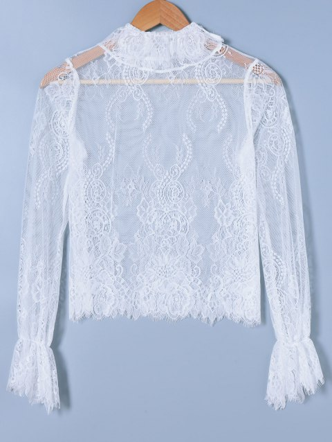 Lace See-Through Blouse - WHITE ONE SIZE