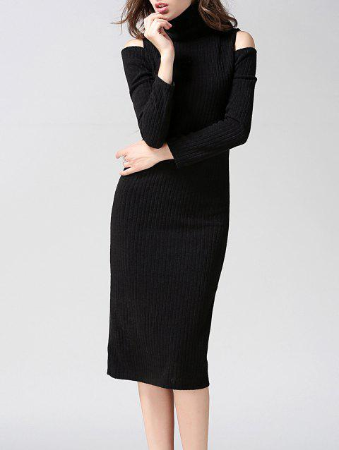 Turtleneck Open Shoulder Bodycon Midi Knit Dress - BLACK L