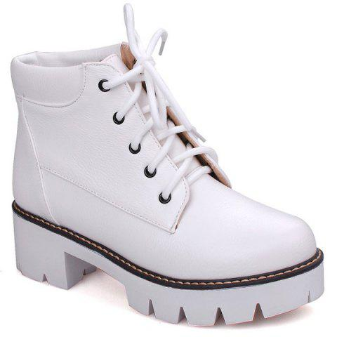 407a029923c 17% OFF  2019 Lace-Up Platform Chunky Heel Combat Boots In WHITE 37 ...