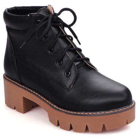 3fed44e64a7 17% OFF] 2019 Lace-Up Platform Chunky Heel Combat Boots In BLACK 38 ...