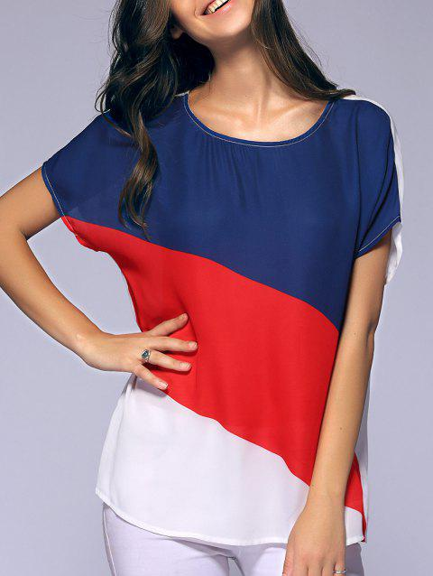 Fashionable Round Collar Printing Batwing Sleeves Chiffon T-Shirt  For Women - RED/WHITE/BLUE S