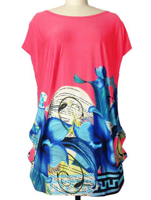 Loose-Fitting Lily Imprimer T-shirt froncé - Rouge ONE SIZE