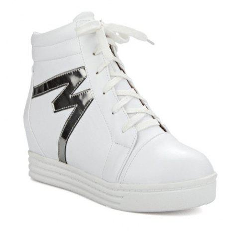High Top Tie Up Print Ankle Boots - WHITE 39