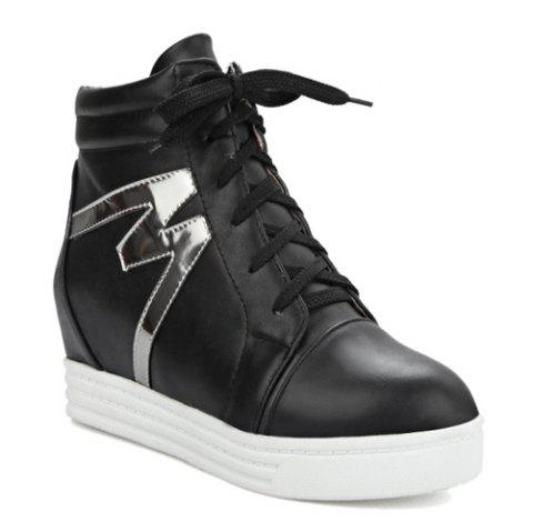 High Top Tie Up Print Ankle Boots - BLACK 39