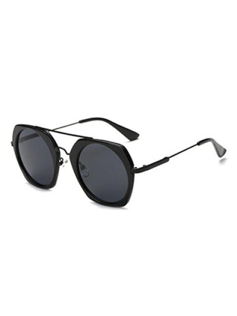 Joy-Ride Irregular Frame Round Lens Sunglasses - BLACK