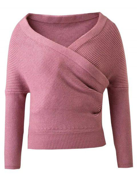 Manches V Long Neck Surplice Sweater - Rose M